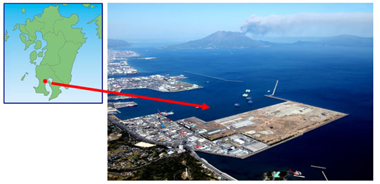 (Left to right) Map of the southern island of Kyushu, Japan (site location indicated by red dot), and aerial image of site location